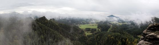 Lookout from Vileminina stena rocky formation near Jetrichovice  in Ceskosaske Svycarsko national park Stock Images