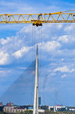 Looks like that big crane is removing cable bridge to another location in Belgrade Stock Images