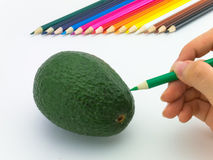 Looks like drawing fruits and vegetables on white background. Royalty Free Stock Photo