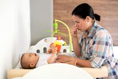 Looks like someone needs a diaper change. And some washing and cleaning stock photography