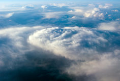 Looks like tornado clouds. Aerial view of the sky with tornado-like clouds stock photos