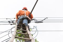 Lookup view of cable repair technician are to fix the lines of network cable. And wires on electric pole and sky background royalty free stock image