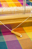 Loom. Photo of a loom with fabric samples Royalty Free Stock Photos