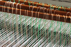 Loom. Part of loom white thread homemade horizontal Royalty Free Stock Photo