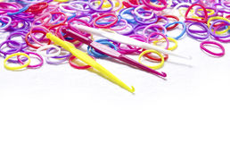Loom band Bracelets and Hooks. Royalty Free Stock Photos