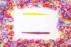 Loom band Bracelets and Hooks. Royalty Free Stock Photo