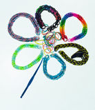 Loom Band Bracelets. Some different bracelets made of rubber loops Royalty Free Stock Images