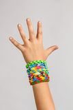 Loom band rubber bracelets Stock Photos
