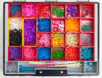 Loom banding elastics in a hobby box Stock Image