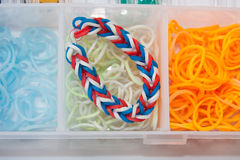 Loom bands with box Royalty Free Stock Photos