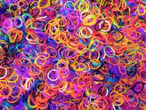 Loom Bands Messy Factory Like with Bright Vibrant Colours. Mixed Assorted Glitter High Quality Royalty Free Stock Photo