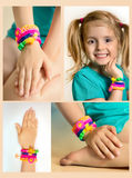 Loom bracelets collage.Rubber wrist accessories on child's hand. Stock Images