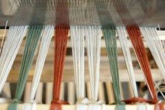Loom. Foot-treadle floor loom with threads Royalty Free Stock Photos