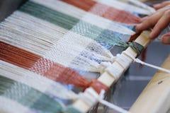 Loom. Foot-treadle floor loom with threads Stock Images