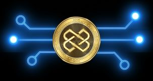 Loom Network LOOM cryptocurrency coin with glowing blockchain transaction. Loom Network LOOM cryptocurrency gold coin on the background of glowing blockchain stock video footage