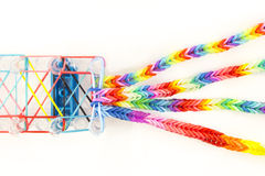 Loom rubber bands bracelets Royalty Free Stock Photo