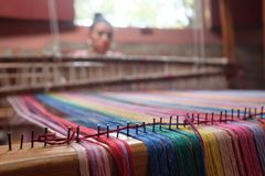 Loom and Weaver with Bright Threads near San Ramon, NIcaragua Royalty Free Stock Images
