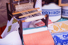 Loom white thread homemade Royalty Free Stock Images