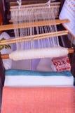 Loom white thread homemade Stock Photos