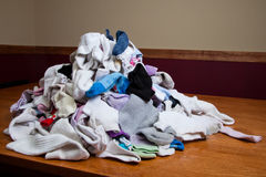 Looming Pile of Laundry. Pile of socks to be sorted and put away Royalty Free Stock Photography