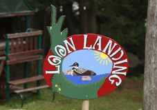 Loon Landing handmade sign Stock Images