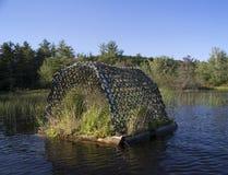 Loon nest. Ing raft on Squam River in Ashland, New Hampshire Stock Photo