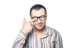 Loony man with eyeglasses Stock Images