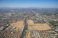 Loop 202 Freeway. Looking west at Downtown Phoenix from high above Royalty Free Stock Photo
