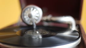 Loop-able Vintage Video of Old Gramophone, playing  record, close up - 1920X1080 Full HD.  stock video