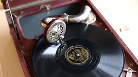 Loop-able Vintage Video of Old Gramophone, playing  record, close up - 1920X1080 Full HD.  stock video footage