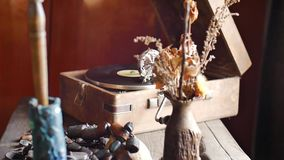 Loop-able Vintage Video of Old Gramophone, playing a record, close up slow motion. Shot stock video footage