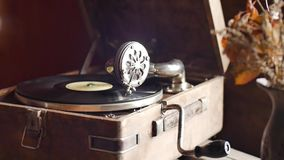 Loop-able Vintage Video of Old Gramophone, playing a record, close up slow motion. Shot stock footage