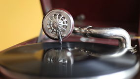Loop-able Vintage Video of Old Gramophone, playing  record, close up - 1920X1080 Full HD stock video footage