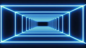 Loop blue neon tunnel background stock footage