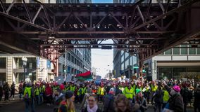 Women's March Chicago. Front line marching at Wabash Street. THE LOOP, CHICAGO, USA-January 20, 2018. Women's March Chicago. Thousands march to Federal Royalty Free Stock Image