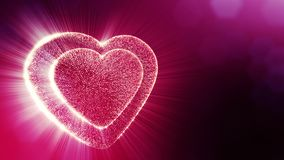 Loop 3d animation of glow particles form 3d red heart with depth of field and bokeh. Use for valentines day or wedding. Background as seamless background with stock footage