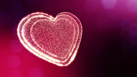 Loop 3d animation of glow particles form 3d red heart with depth of field and bokeh. For valentines day or wedding. Background as seamless background with space stock footage