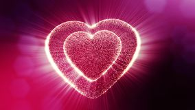 Looped 3d animation of glow particles form 3d red heart with depth of field and bokeh. For valentines day or wedding. Loop 3d animation of glow particles form 3d stock video