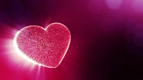 Loop 3d animation of glow particles form 3d red heart with depth of field and bokeh. Use for valentines day or wedding. Background as seamless background with stock video footage