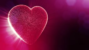 Loop 3d animation of glow particles form 3d red heart with depth of field and bokeh. Use for valentines day or wedding. Background as seamless background with stock video