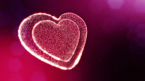 Loop 3d animation of glow particles form 3d red heart with depth of field and bokeh. For valentines day or wedding. Background as seamless background with space stock video footage