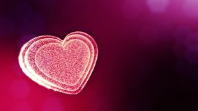 Loop 3d animation of glow particles form 3d red heart with depth of field and bokeh. For valentines day or wedding. Background as seamless background with space stock video
