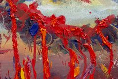 Loop for the dead in red blood, fear, execution, death. Original oil painting, contemporary. Oil Painting palette knife - Cross in red blood, fear, execution vector illustration