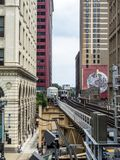 The Loop - elevated train line between buildings - Chicago, Illinois Royalty Free Stock Photo