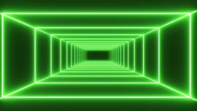 Loop green neon tunnel background stock video