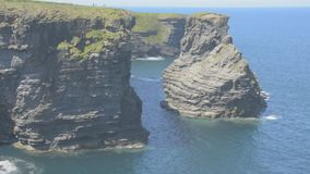 Loop Head Peninsula,West Clare,Ireland showing rocks and cliffs sculpted by the Atlantic Ocean. Wild Atlantic Way Route. stock video