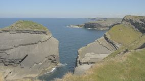 Loop Head Peninsula,West Clare,Ireland showing rocks and cliffs sculpted by the Atlantic Ocean. Wild Atlantic Way Route. stock video footage