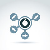 Loop icon, reload gray symbol placed on a circle. Multidirection Royalty Free Stock Photos