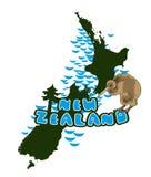 Vector image of New Zealand islands. Loop  image of New Zealand islands, redwoods and bird kiwi. Postage Royalty Free Stock Photo