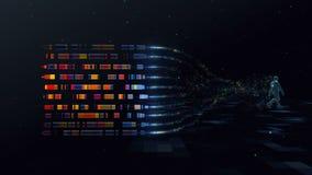 Loop infinite abstract digital man walks in digital space generating a cloud of color data symbols of particles